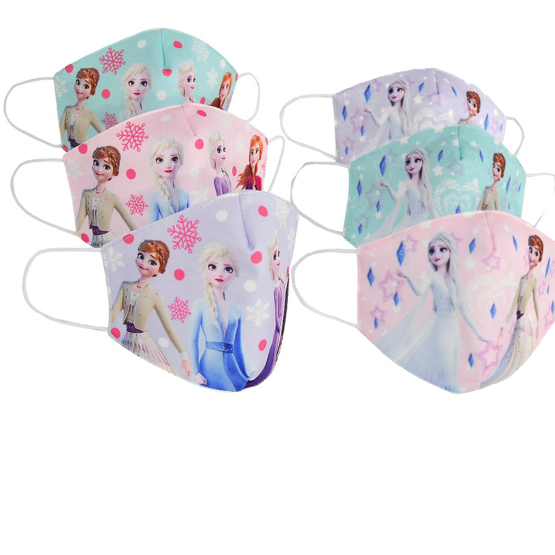 2020 Girls Cotton Face Mouth Mask Adults Kids Stop Air Pollution Cartoon Elsa Anna Ice Princess 2 Printed Dustproof Cover
