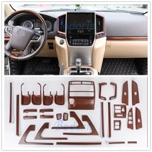 Wooden Color Door Holder Handle AC Outlet Dashboard Trim LC 200 Car Styling 2016 2017 For Toyota Land Cruiser 200 Accessories wooden color door holder handle ac outlet dashboard trim lc 200 car styling 2016 2017 for toyota land cruiser 200 accessories