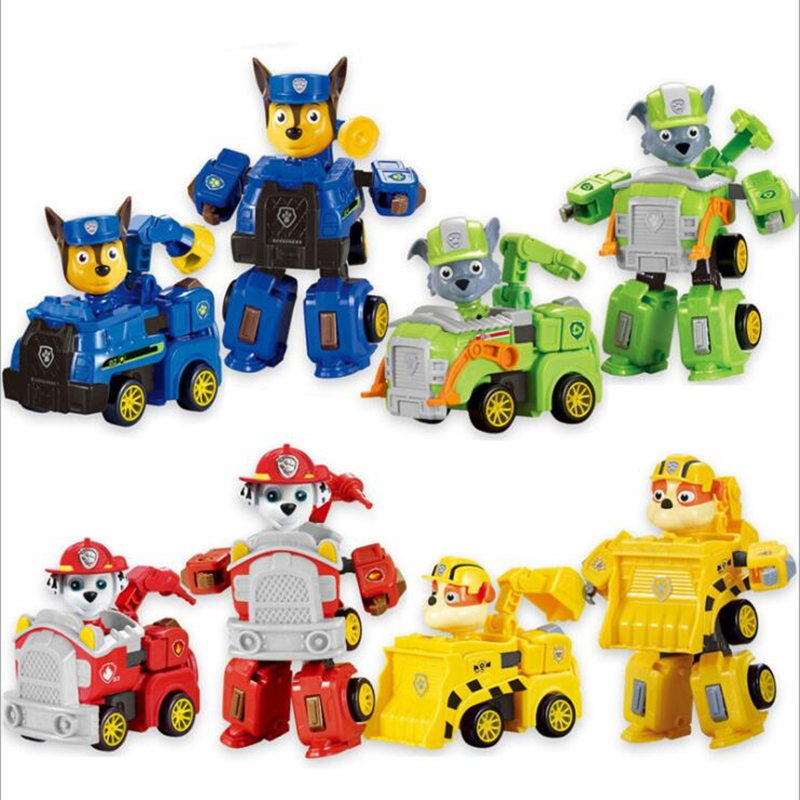 4 Color Deformation Paw Patrol Dog Puppy Patrol Car Action Figures Model Toy Chase Marshall Ryder Vehicle Car Kids