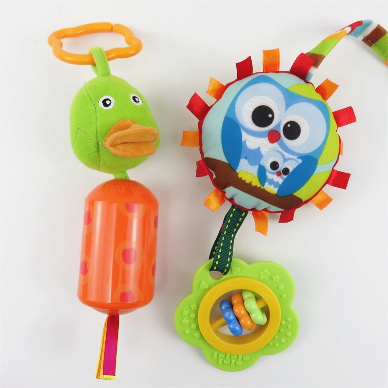 Baby Plush Toys Cute Animal Owl Duck Wind Bell Stroller Bed Hanging Early Educational Toys Rattles Stroller Hanging Baby Rattles