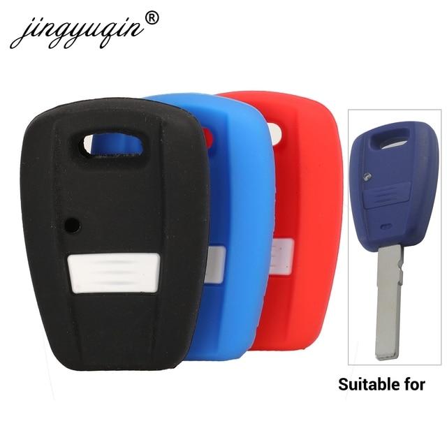 Jingyuqin 자동차 스타일링 원격 키 케이스 1 버튼 피아트 Punto Doblo 브라보 트랜스 폰더 실리콘 자동 키 커버 Protetor 홀더