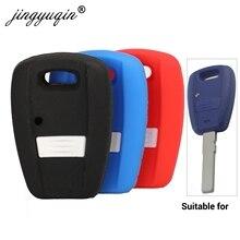 Jingyuqin estilo do carro remoto caso chave 1 botão para fiat punto doblo bravo transponder silicone auto chave capa titular protetor