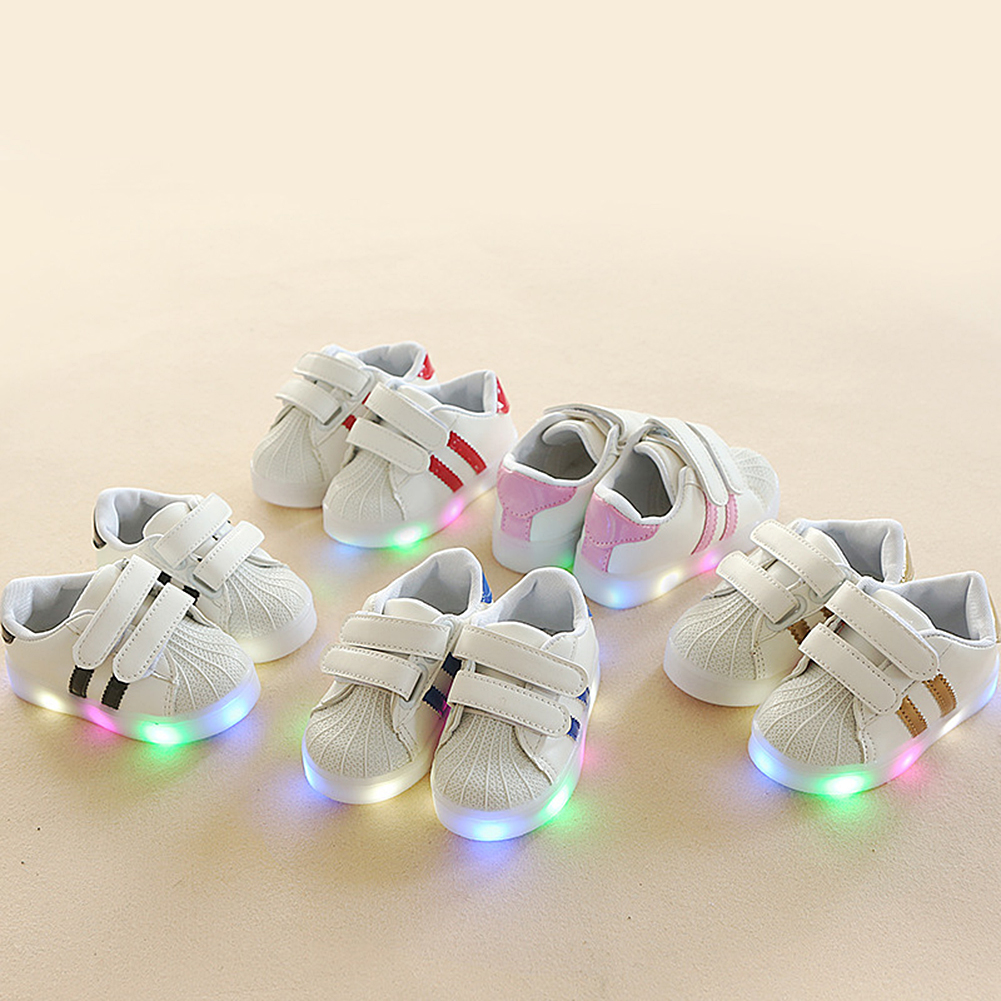 Kids LED Shoes Casual Sport Running Shoes Children Luminous Shoes Boys Girls Stripe Baby Non-slip Sneakers