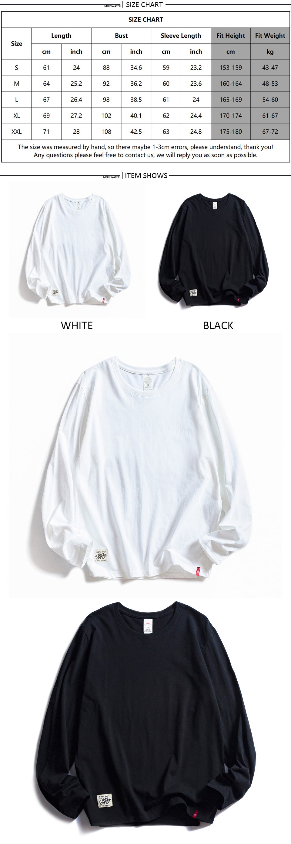 H28782e57dc694b0bade025c5d6a7130a5 - MOINWATER Women O-neck Long Sleeve T shirts Lady White Cotton Tops Female Soft Casual Tees Women's Black T-shirt MLT1901