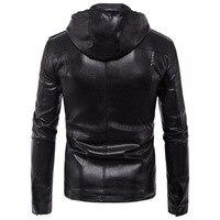 Fashion Leather Jacket Men Black PU Leather Hat Coat Rock Men Clothes 2019