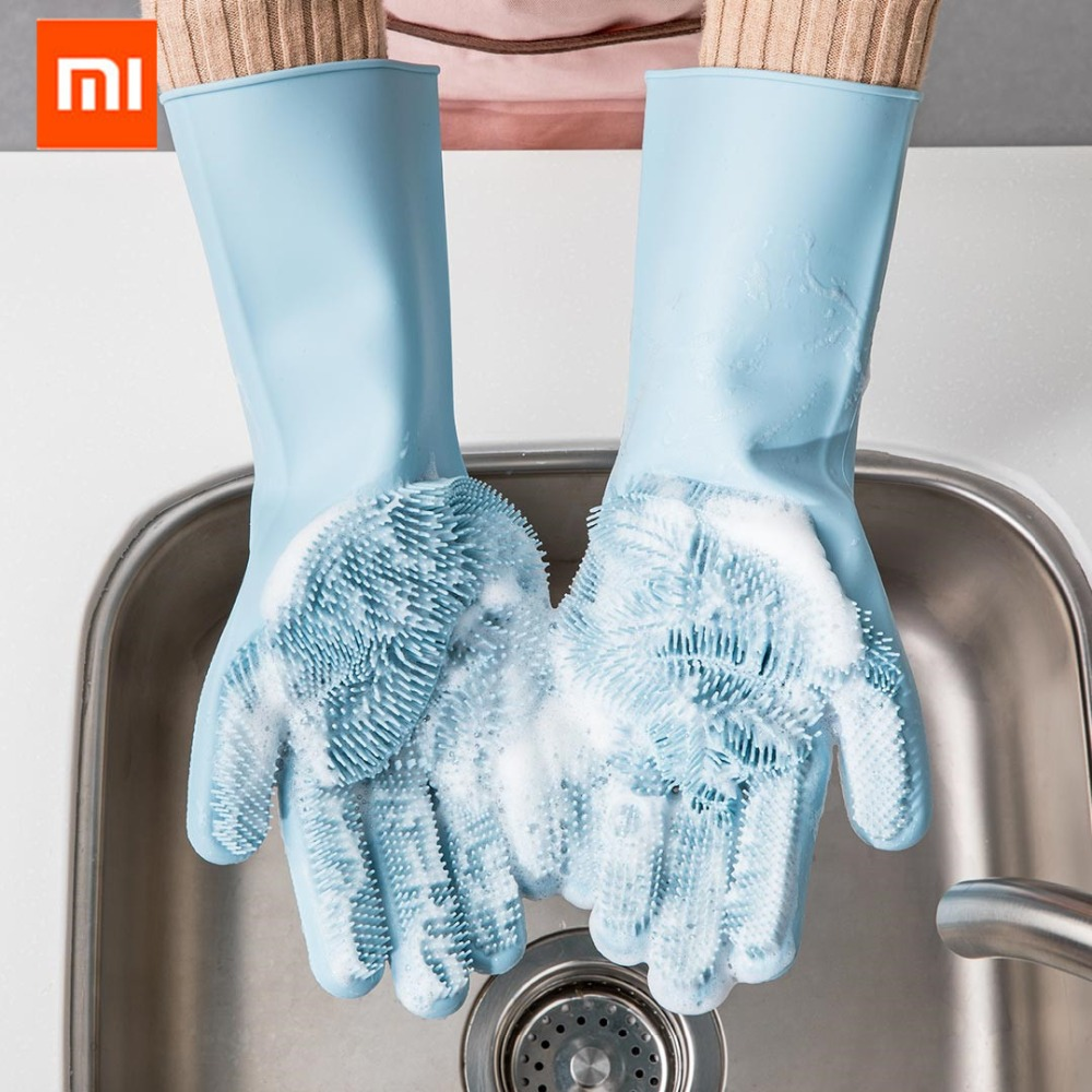 Tüketici Elektroniği'ten Akıllı Uzaktan Kumanda'de Xiaomi JJ sihirli silikon temizlik eldiveni yalıtım kaymaz bulaşık yıkama eldiven çift taraflı eldiven ev mutfak için title=
