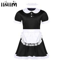 iiniim Hot Mens Sissy Lingerie Set Girl Maid Dress Sexy Costumes Cosplay Clubwear Doll Neck Satin Dress with Headband and Apron