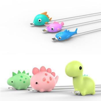Cute Cartoon zwierząt kabel Protector lekka przenośna ryba dinozaur pies przewód Winder organizator dla IPhone ochrona linii danych tanie i dobre opinie centechia CN (pochodzenie) RUBBER dropshipping