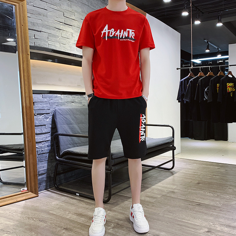 2019 Summer New Style Printed Shorts Short Sleeve T-shirt Suit Men's Teenager Sports Loose-Fit Set