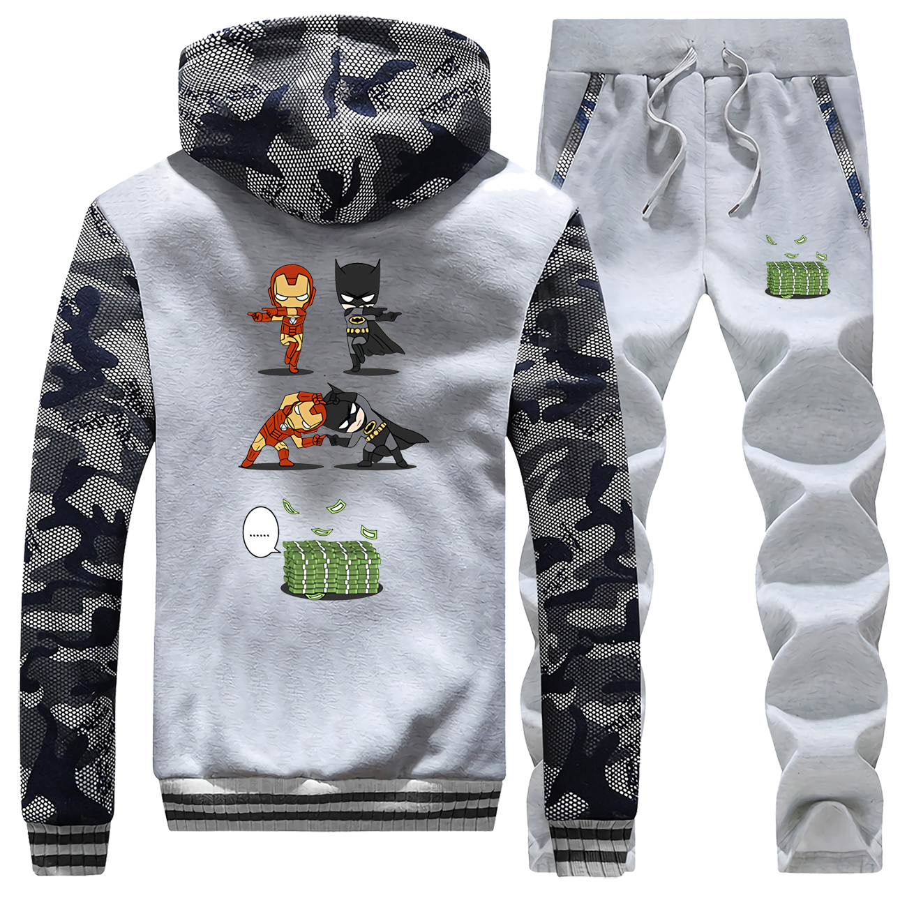 2019 New Style Jacket+pants 2Pcs Long Sleeve Fleece Casual Sports Suit Coats Cartoon Hip Hop Men Winter Hoodies Sweatpants Suit