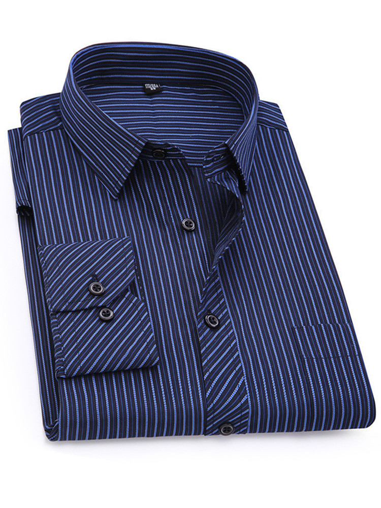 Long-Sleeved Shirt Social-Dress Classic Blue Business-Casual Purple 7XL Striped Plus