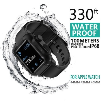 Waterproof case For Apple Watch band 5 iwatch bands 44mm 40mm 42mm Silicone Strap pulseira Bracelet smart watch Accessories loop