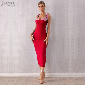 Image 1 - ADYCE 2020 חדש קיץ נשים Bodycon תחבושת שמלה סקסי ספגטי רצועת מקסי קשת כחול מועדון שמלת סלבריטאים מסלול שמלות Vestido