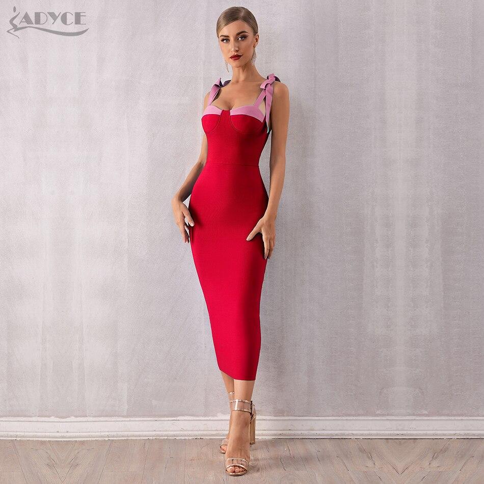 ADYCE 2020 New Summer Women Bodycon Bandage Dress Sexy Spaghetti Strap Maxi Bow Blue Club Dress Celebrity Runway Dresses Vestido