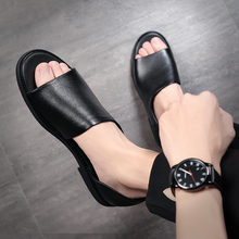 outdoor roman rubber sandals for men leather genuine hollow shoes