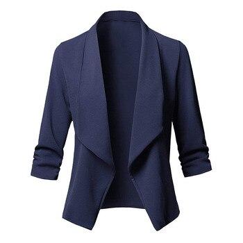 3 / 4 Sleeve Blaser Women Jacket Women's Feminine Pink Blue White Black Blazer Femme Autumn Plus Size 5xl
