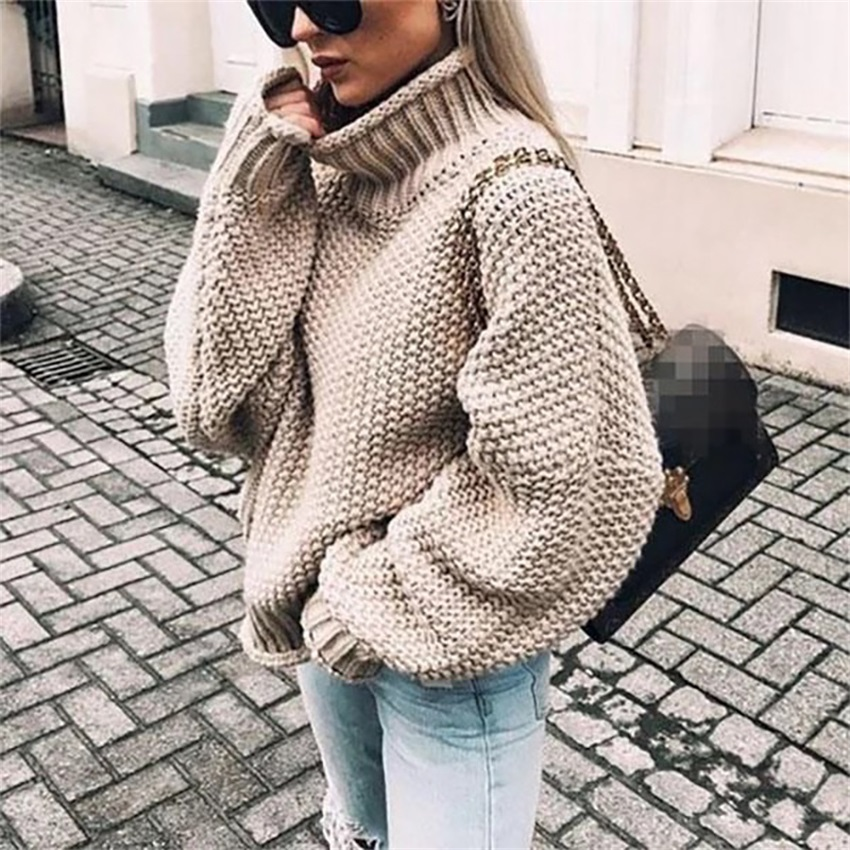 Rough Curled High collar Bat Sleeve Knitted Shirt Wool Sweater