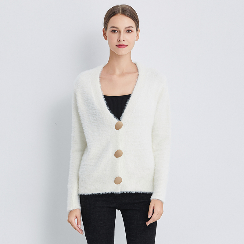 Ailegogo New Autumn Women Knitted V Neck Single Breasted Sweater Gold Button Casual Female Cardigans Short Soft Warm Knitwear