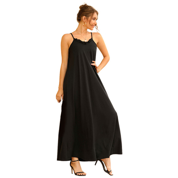 Sexy Women Maxi Dress Black Sling Female Summer Sleeveless V-Neck Vest Long Dresses - discount item  45% OFF Dresses