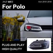 AKD автомобильный Стайлинг для VW Polo фара 2010- Vento светодиодный головной фонарь светодиодный DRL Hid Bi xenon фары светодиодный дальнего света аксессуары