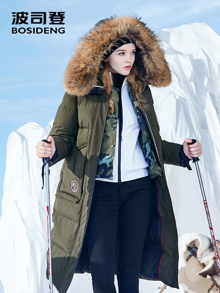 BOSIDENG Harsh Winter Jacket Women Goose Down Coat Big Natural Fur Outlife Waterproof Windproof Thicken Long Parka B80142154