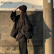 Vestes de base pour femmes, nouveaux manteaux de printemps-automne unisexe Cargo, ample Bf Harajuku, Double couche pour femmes
