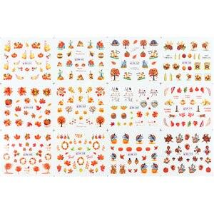 Image 2 - 손톱에 대 한 12pcs 가을 스타일 물 슬라이더 메이플 리프 물 전송 네일 스티커 데 칼 장식 디자인 매니큐어 JIBN361 372