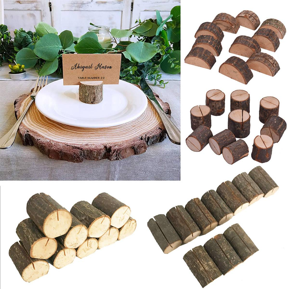 20pcs Wooden wedding Party Direction Signs Card Holders for Photo Clip Home Decor Name Place Card Menu Photo Clips Ornaments