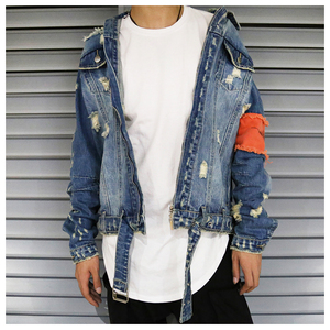 Image 2 - Hip Hop Men Jeans Jacket Coat Hole Patchwork Long Sleeve Hi Street Mens Jackets 2020 Autumn Washed Ribbon Male Streetwear Coats