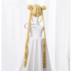 Image 4 - Tsukino Usagi Wig 90cm Long Wavy Sailor Moon Cosplay Costumes Party Halloween Synthetic Hair +Free Wig Cap
