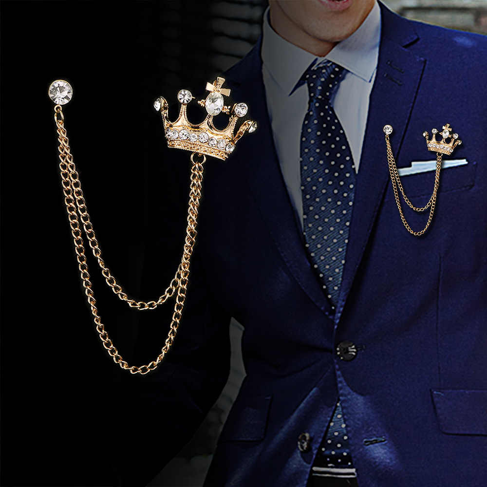 I-Remiel High-end Retrò da Uomo Spilla Nappa di Stile Britannico Dell'annata Spille Crystal Crown Distintivo Bouquet per collare del vestito Accessori