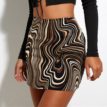 Y2K  Asymmetric Striped Print Mini Skirts High WaistZip Up Short Pencil Skirt Kawaii Summer Clothes For Women Streetwear