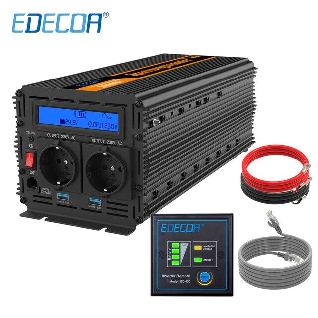 EDECOA 3000 واط 6000 واط تيار مستمر 24 فولت إلى التيار المتناوب 220 فولت 230 فولت تعديل شرط موجة عاكس الطاقة مع التحكم عن بعد شاشة الكريستال السائل USB ميناء 5 فولت 2.1A