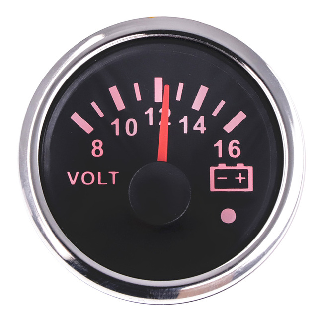 52 mm Marine Voltmeter Volt Meter Gauge 8-16 Volts 16-32 Volts Car Voltage Gauges For Caravan Boat Red Backlight 12V 24V