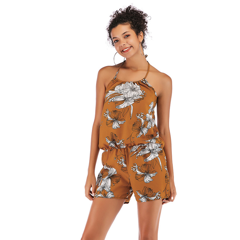 Summer Print Strap Shorts Jumpsuit Women Holiday Hot Halter Backless Fresh Casual Playsuit Lady Suit