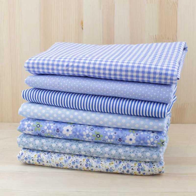 100% القطن 50 سنتيمتر x 50 سنتيمتر أو 25 سنتيمتر x 25 سنتيمتر الضوء الأزرق القماش غطاء 7 قطع ، تستخدم ل خياطة رقيقة الأقمشة من خليط
