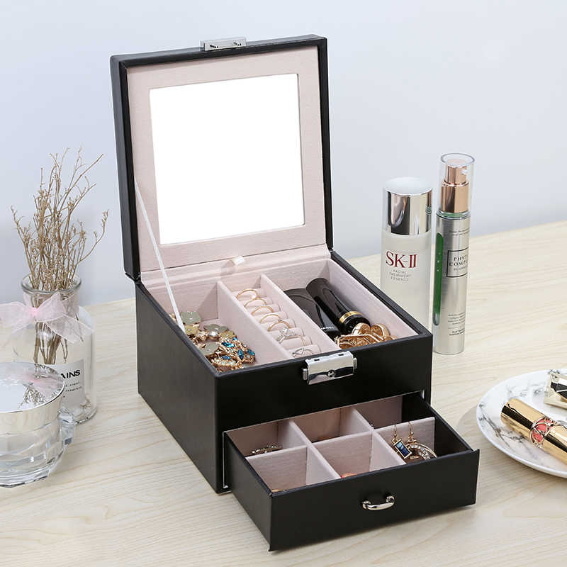 Casegrace Leather Jewelry Box Organizer Multi Section Classic Holder With Modern Drawer Lock Large Mirror For Women Teens Girls Wooden Box Storage Wood Boxstorage Wood Aliexpress