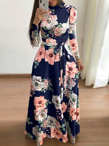 Dress Bandage Turtleneck Vestidos Long-Sleeve Boho Floral-Print Women Autumn Casual