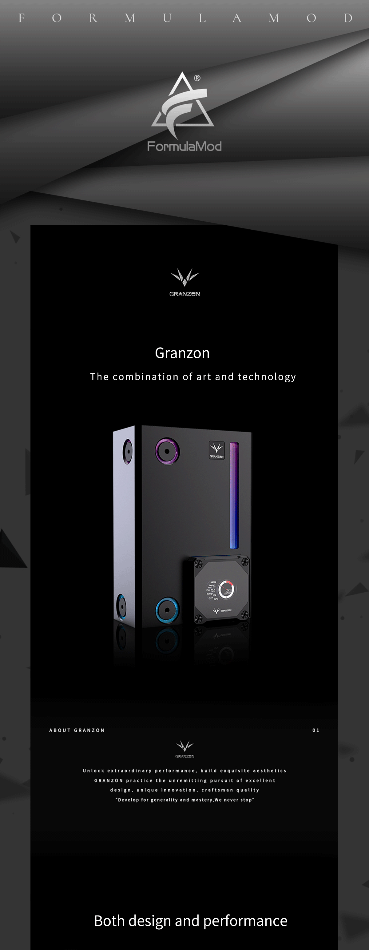Granzon GE-A180 Square Reservoir With DDC Pump Combo, With Smart Data Digital Display, 5V A-RGB Cuboid Water Cooling Tank