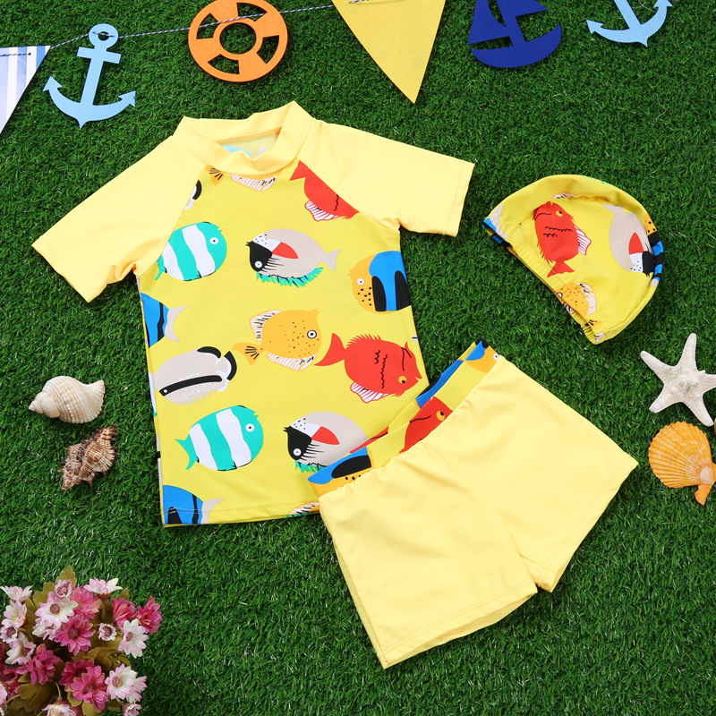 2017 New Style Haiyishan KID'S Swimwear Fashion BOY'S Printed Split Type Tour Bathing Suit Short Sleeve Beach Swimwear