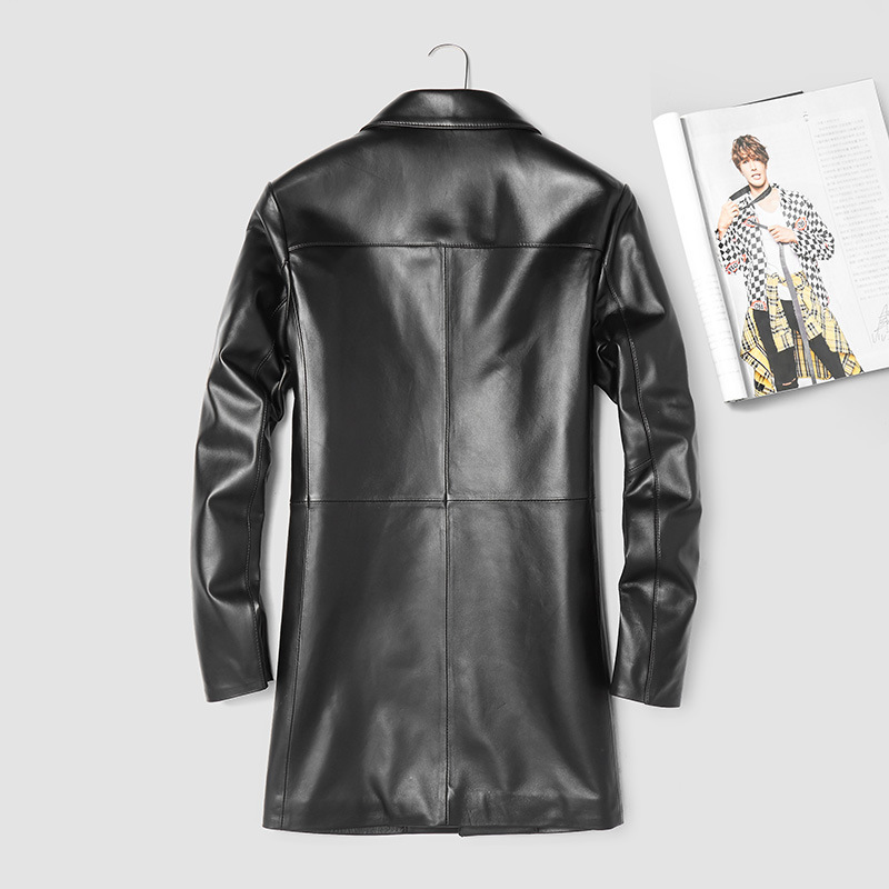 2020 Genuine Leather Jacket Men Long Real Sheepskin Coat For Men Windbreaker Leather Jackets Leren Jas Heren 802 KJ3004