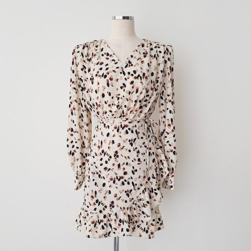 Gaganight шифоновое винтажное женское короткое платье с рюшами, с длинным рукавом и v-образным вырезом, шикарное Новое весенне-летнее платье, жен...
