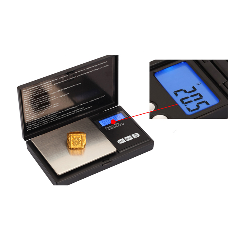 200g/0.01g LCD Digital Pocket Diamond Jewelry Bijoux Sterling Silver Scale Gold Gram Balance Electronic Scales Weight Scale