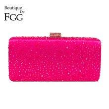 Женские вечерние сумочки Boutique De FGG, ярко розовые клатчи со стразами в металлической коробке, клатчи для свадебной вечеринки, кошелек для невесты