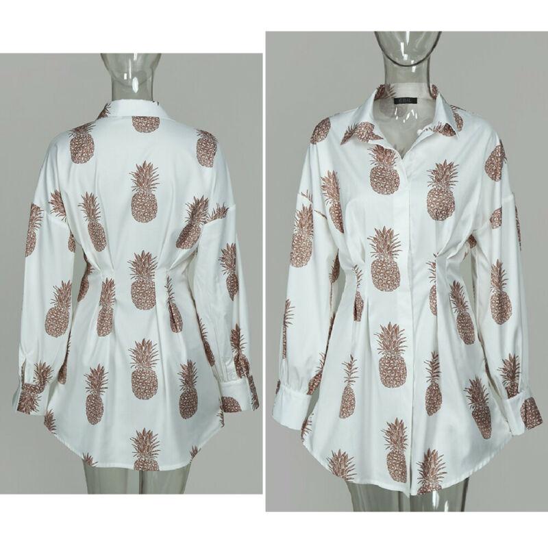 Meihuida Summer Autumn Women Long Sleeve Mini Shirt Dress Button V Neck Three Quarter Sleeve Waist Collection Blouses Dress 3