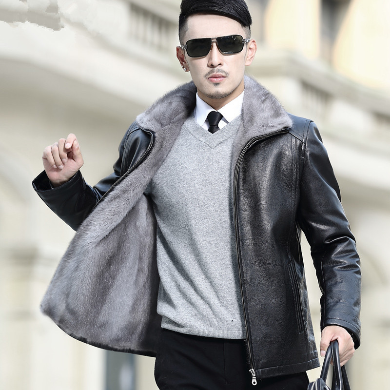 Real Fur Coat Men Natural Mink Fur Coat Genuine Leather Jacket Men Goatskin Winter Coat For Mens Clothing Casaco A16DN5257 YY796
