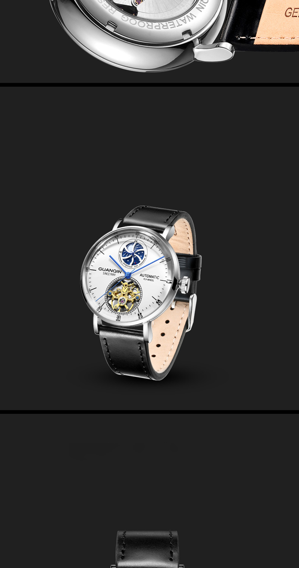 Guanqin 2019 relógio mecânico automático masculino tourbillon