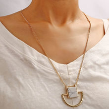 Modyle 2019 Vintage Fashion Cameo Necklace Gold Color Stone Pendant Necklace For Girls Retro Necklace Gift(China)