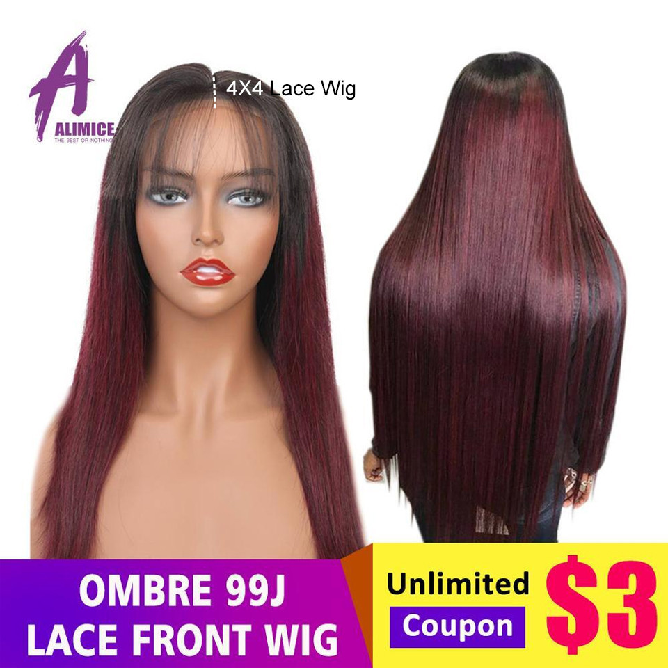 Brazilian Straight Hair 4x4 Lace Closure Wig Alimice Colored Pink/Blonde/Red/Blue/Orange Wigs 180% Ombre Remy Human Hair Wigs-in Human Hair Lace Wigs from Hair Extensions & Wigs    1