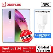 oneplus 8 5g Versão global smartphone 8gb 128gb snapdragon 865 6.55 90 90 90hz display fluido 48mp triplo oneplus loja oficial nfc